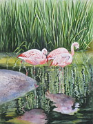 Flamingos Originals - Pink Trio by Mary McCullah