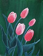 Tulips Drawings Prints - Pink Tulips Print by Anastasiya Malakhova