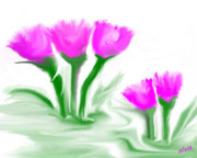 Posters On Digital Art - Pink Tulips by Elva Kimble