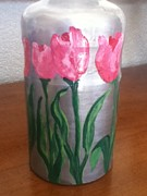 Vase Glass Art Metal Prints - Pink Tulips Miniature Vase Metal Print by Berta Barocio-Sullivan
