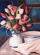 Jug Painting Originals - Pink Tulips by Renate Nadi Wesley