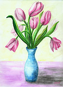 Tulips Drawings Prints - Pink Tulips Print by Tatiana Fess