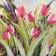 Silver Leaf Paintings - Pink Tulips by Vic  Mastis