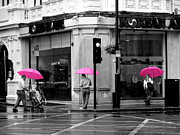 Routine Framed Prints - Pink Umbrellas Framed Print by Ivan SABO
