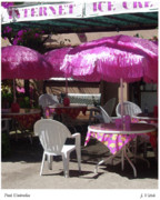 Lahaina Digital Art Prints - Pink Umbrellas  Print by Joseph Vittek