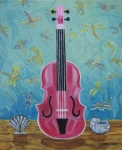 Johnkeaton Framed Prints - Pink Violin with Fireflies and Shells Still Life Framed Print by John Keaton