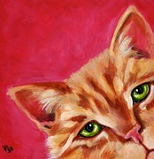 Ginger Cat Posters - Pink with Attitude Poster by Pat Burns