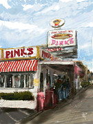 Los Angeles Mixed Media Prints - Pinks Print by Russell Pierce