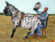Bull Riding Paintings - Pinky and Gert by Tom Roderick