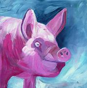 Grey And Pink Prints - Pinky pig painting Print by Pamela Munger