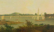Sail Boats Prints - Pinnace Sailing Down the Ganges past Monghyr Fort Print by Thomas Daniell