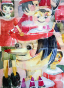 Christmas Card Originals - Pinocchios in the Window Reflections by Mindy Newman
