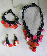 Wood Necklace Jewelry - Pinococo 11-392 Orange by Lyn Deutsch
