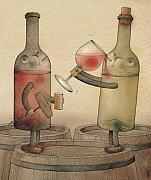 Red Wine Drawings Posters - Pinot Noir and Chardonnay Poster by Kestutis Kasparavicius