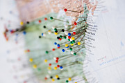 Wall Chart Photos - Pins in Map of US and Canadian Border by Jeremy Woodhouse
