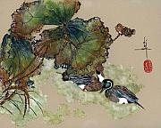 Lotus Pond Paintings - Pintails in Lotus Pond by Linda Smith