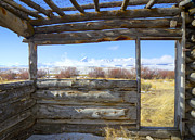 Cabin Window Framed Prints - Pioneer Cabin Framed Print by Idaho Scenic Images Linda Lantzy