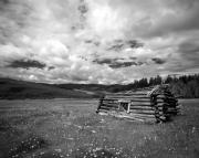 Black And White Photos - Pioneer Cabin by Leland Howard