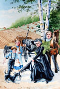 Picture Painting Originals - Pioneer Family by Hanne Lore Koehler