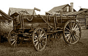 Conestoga Photo Metal Prints - Pioneer Freight Wagon - Nevada City Ghost Town Metal Print by Daniel Hagerman