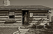 Log Cabin Photos - Pioneer Greeting monochrome by Steve Harrington