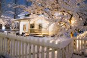 Snowy Night Night Photo Prints - Pioneer Home at Christmas Time Print by Utah Images