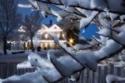 Snowy Night Night Photo Prints - Pioneer Inn at Christmas Time Print by Utah Images