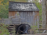 Shed Digital Art Prints - Pioneer Water Mill Print by DigiArt Diaries by Vicky Browning