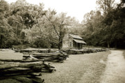 Split Rail Fence Photo Prints - Pioneers Cabin Print by Scott Pellegrin