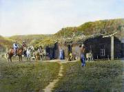 1887 Prints - Pioneers Sod House, 1887 Print by Granger