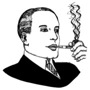 Pen  Drawings - Pipe Smoking by Karl Addison
