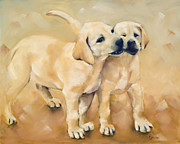 Puppies Painting Originals - Piper and Keely by Cheryl Wilson