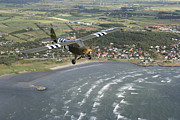 Piper Cub Prints - Piper L-4 Cub In Us Army D-day Colors Print by Daniel Karlsson