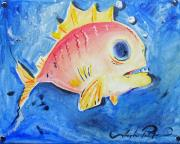 Joseph Palotas Painting Framed Prints - Piranha Art Framed Print by Joseph Palotas