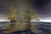 Pirate Ships Digital Art Posters - Pirate Attack Poster by Carol and Mike Werner