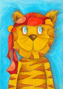 Crafts For Kids Prints - Pirate Cat Print by Sonja Mengkowski