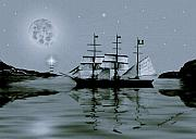 Pirates Prints - Pirate Cove By Night Print by Madeline M Allen