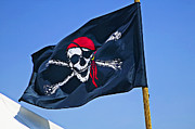 Pirates Prints - Pirate flag skull with red scarf Print by Garry Gay
