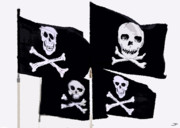 Pirates Of Caribbean Prints - Pirate Flags Print by David Lee Thompson