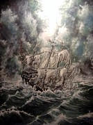 Pirate Ships Painting Posters - Pirate Islands 2 Poster by Robert Tarrant