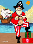 Pirates Pastels Prints - Pirate Santa Print by William Depaula