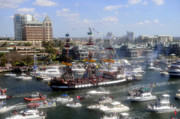 Gasparilla Prints - Pirate ship and flotilla Print by David Lee Thompson