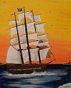 Pirate Ship Paintings - Pirate Ship At Dawn by Paul F Labarbera