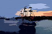 Pirate Ship In The Bay Print by David Lee Thompson
