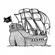 Pirate Ship Drawings Prints - Pirate Ship Print by Karl Addison