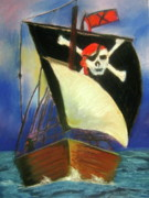 Captain Pastels Posters - Pirate Ship Poster by Marita McVeigh