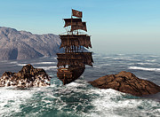 Flag Pole Digital Art - Pirate Ship by Simone Gatterwe