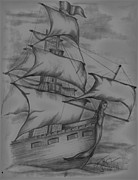 Pirate Ship Posters - Pirate Ship Sketch Poster by Vickie Roche