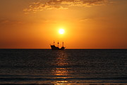 Pirate Ship Posters - Pirate Ship Sunset Poster by Shari Bailey