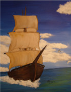 Pirate Ship Paintings - Pirate Ship with Gulls by Vickie Roche